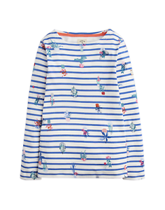 5902cb0c8fd Details about Joules Junior Harbour Jersey Top - Cream Blue Plant Stripe