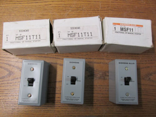 NEW NOS LOT OF 3 Siemens MSF11T11 Manual Starter 1HP 115//230VAC