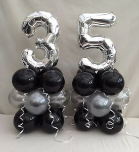 Image Is Loading 35th Birthday Balloon Kit Black And Silver Table