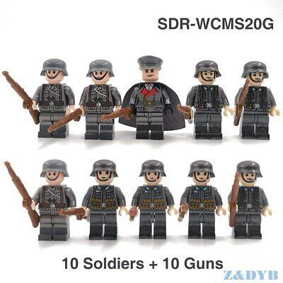 10PCS WW2 German Army Soldiers Building Blocks Bricks Military Figures Weapons