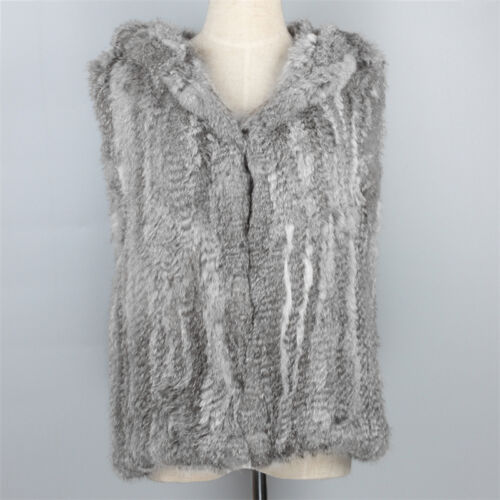 Top Selling Real Rabbit Fur Knit Vest Hooded Gilet Lady Short Waistcoat Causal