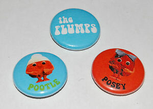 THE-FLUMPS-25MM-1-INCH-BUTTON-BADGE-SET-RETRO-KIDS-TV-POOTLE-POSEY-60s-70s