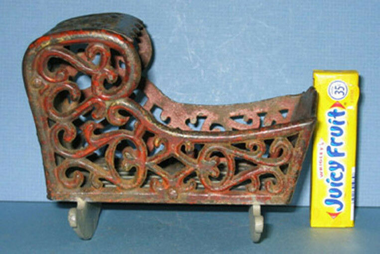 AUTHENTIC OLD CAST IRON TOY CRADLE 3 3 4  HI VERY ORNATE NOW ON SALE CI 317
