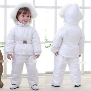 Baby Boy Girl Winter Warm White Snowsuits Jacket Coatpant Outfit