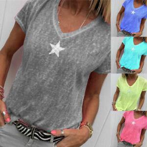Women-V-Neck-T-Shirt-Star-Printed-Loose-Top-Short-Sleeve-Summer-Tee-Shirt-Blouse