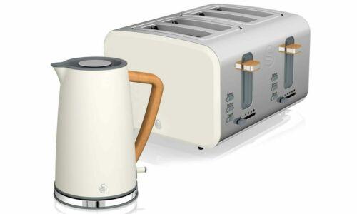 Swan Nordic 4 Slice Toaster & Cordless Kettle 1.7L Set White