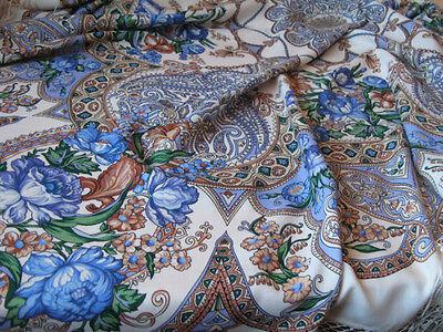 "Russian 680-1 Pavlovo-Posad Woolen shawls (58х58"") (148x148 cm) 100% wool"