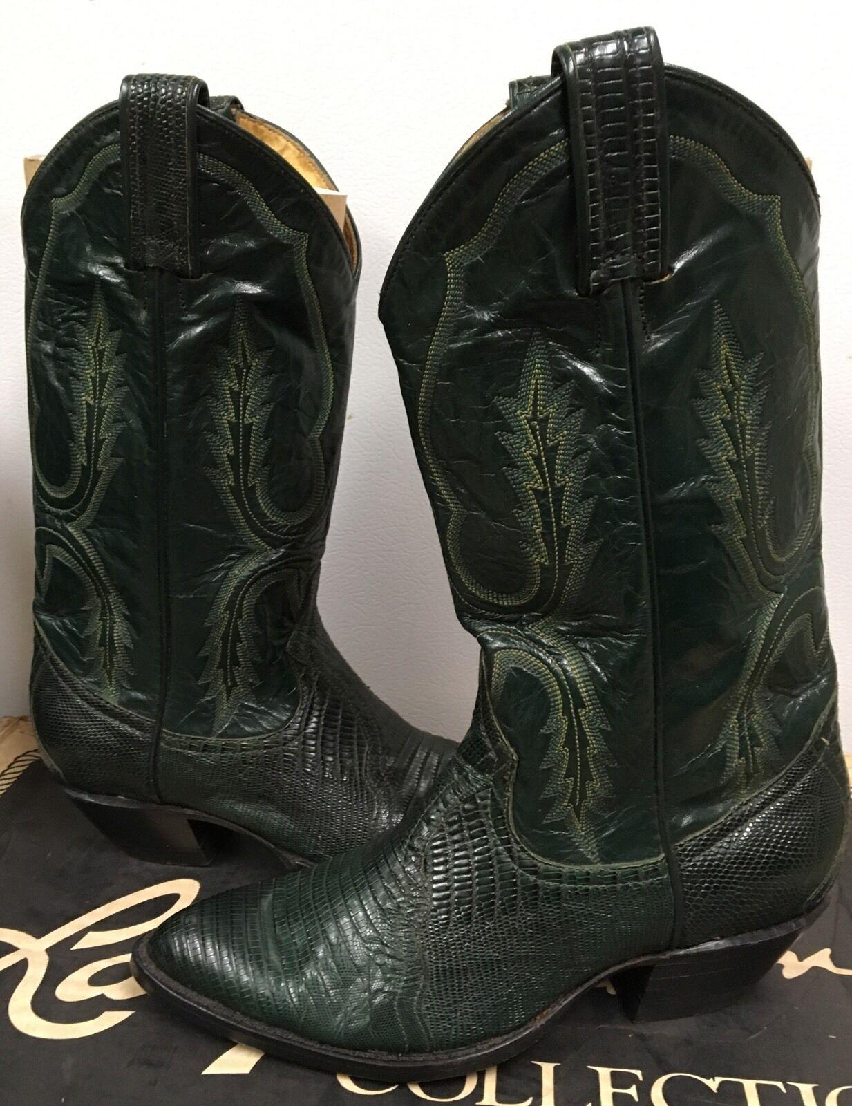 Larry Mahan Women's Western Boots  Green Lizard Leather 8385 size US 4.5