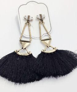 Handmade-Black-Crystal-Ear-Drop-Dangle-Stud-Ancient-Gold-long-Tassels-Earrings