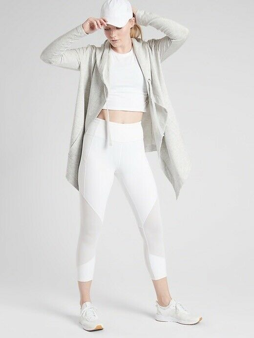 Athleta Light Grey Heather Vista Wrap Medium NWT   Hooded