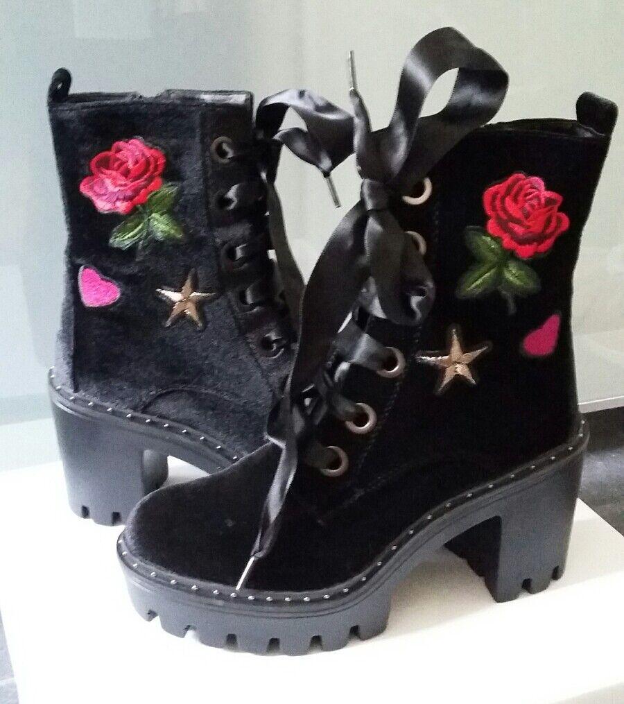 Catwalk Damen Stiefel Samt schwarz Rosen Stiefelette Blockabsatz schwarz Samt 36 Neu mit Karton cc4361