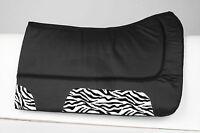 Zebra Print Black Contour Non Slip Wool Felt Canvas Western Horse Saddle Pad