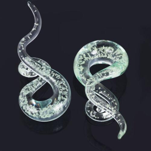 Pair Spiral Handmade Pyrex Glass Tunnels Plugs Ear Gauges Ear Piercing 5mm-14mm