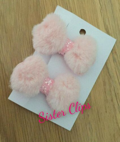 Set of 2 toddler pigtail small fluffy baby pink fur bows hair clips