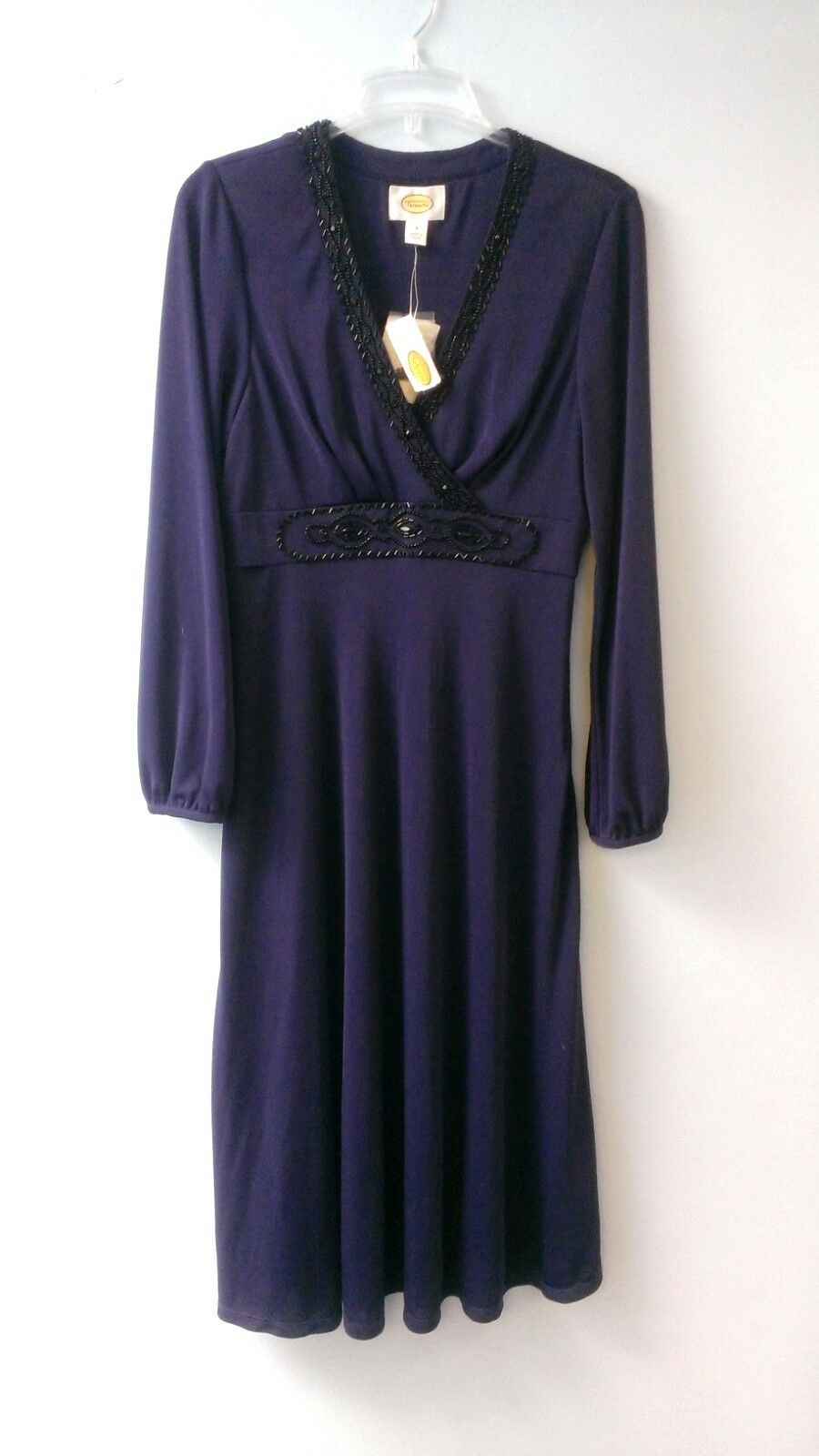 Navy-bluee, long-sleeved A-line dress by Talbots