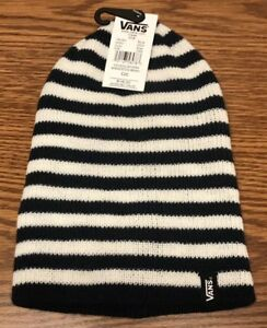 038fe85ce1 Vans Off The Wall Mismoedig White Blue Striped Warm Winter Beanie ...