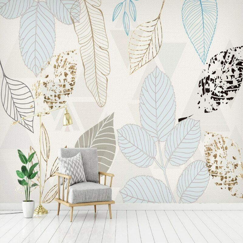 3D Minimalist Leaf Floral Modern Wall Art Mural Wallpaper Living Room Bedroom