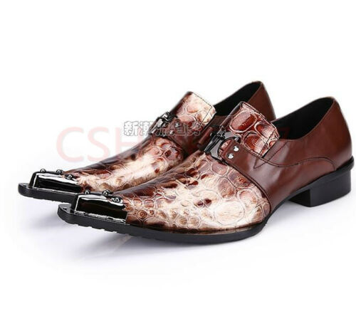 Mens  Metal Toe Leather party dress pointed toe formal shoes leather club hot SZ
