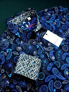 Robert-Graham-Colorful-Paisley-Floral-Print-Sport-Shirt-Black-Blue-199