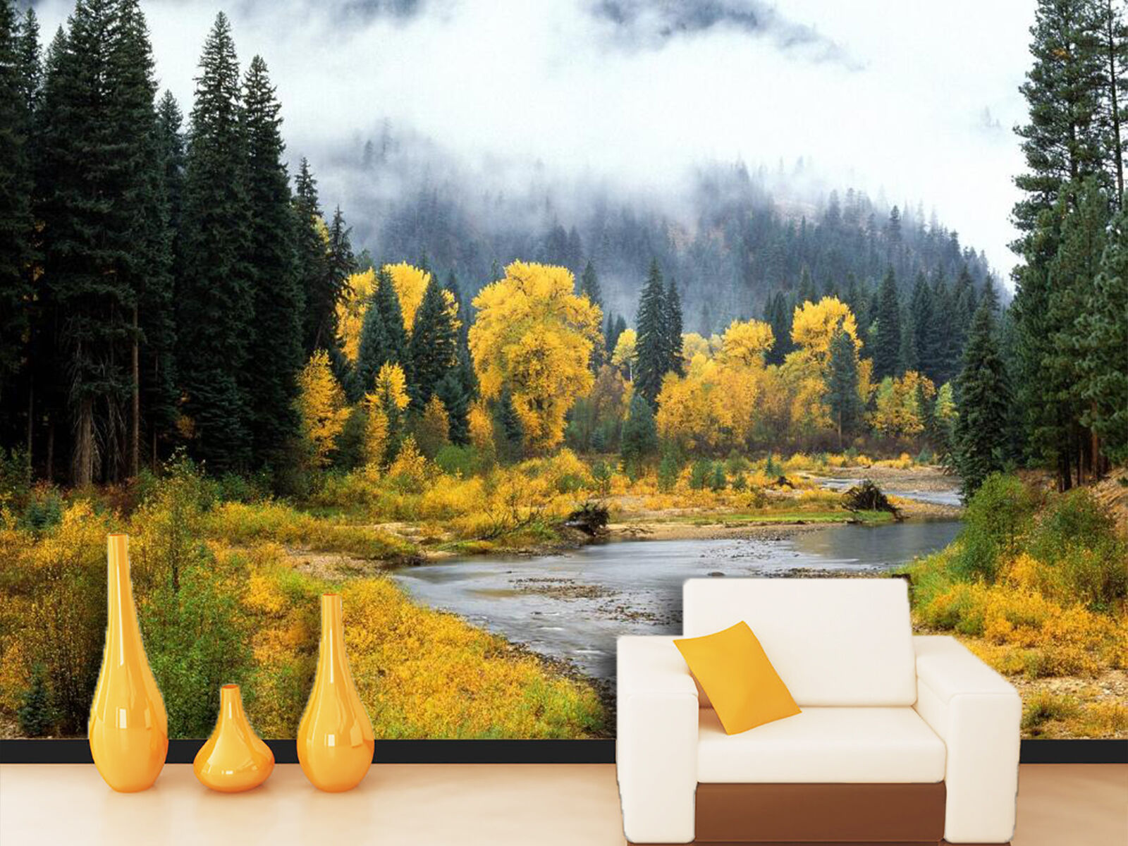 3D Foggy trees 2543 Wall Paper Wall Print Decal Wall Deco Indoor Wall Murals