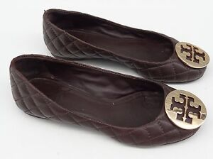 Image is loading 225-TORY-BURCH-Reva-Ballet-Flats-Shoes-Brown-