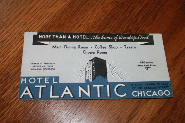 VINTAGE Advertising  Ink Blotter Card  Hotel Atlantic, Chicago > rooms $2.50