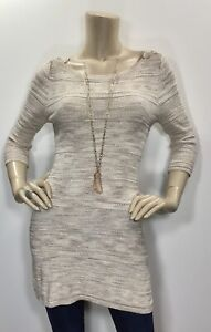 New-White-House-Black-Market-XS-Gold-Ivory-Metallic-Tunic-Sweater-3-4-Sleeve