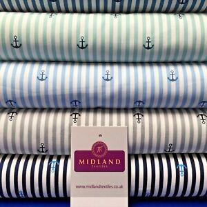 Nautical-Anchor-Stripes-Printed-Poplin-Fabric-45-034-Wide-MK918-Mtex