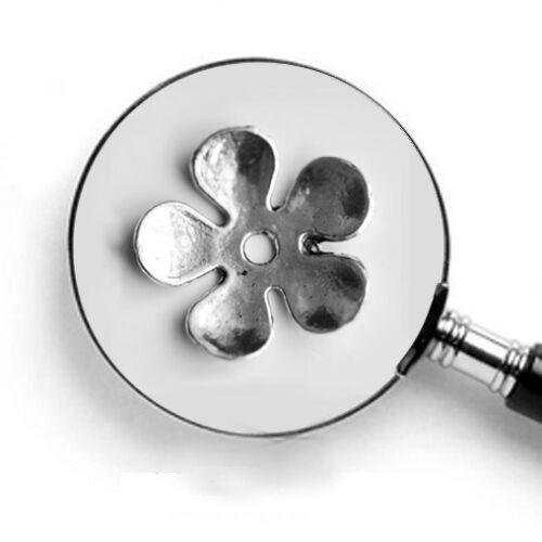 5 St.//Perlkappen Blumen-Motiv  Ø 20 mm Platinfarben