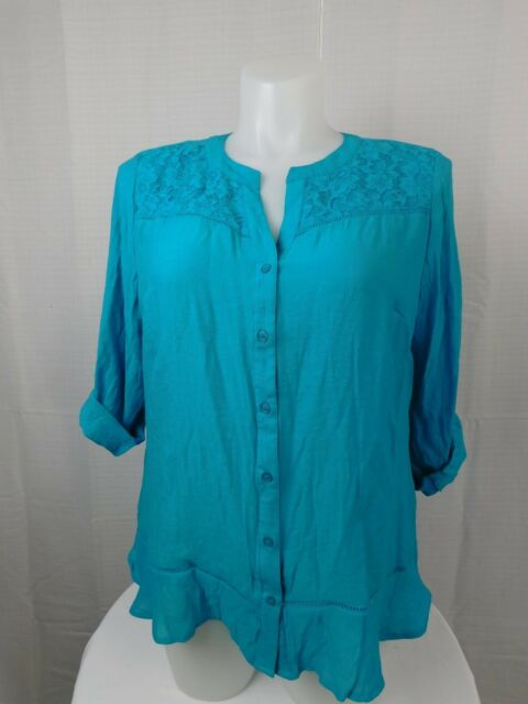 Ny Collection Plus Size Turquoise Lace Detailed Blouse 2x Ebay