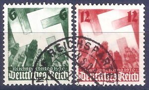 DR-Nazi-3rd-Reich-Rare-WW2-Two-Stamp-Hitler-NSDAP-Salute-to-Swastika-Rare-Cancel