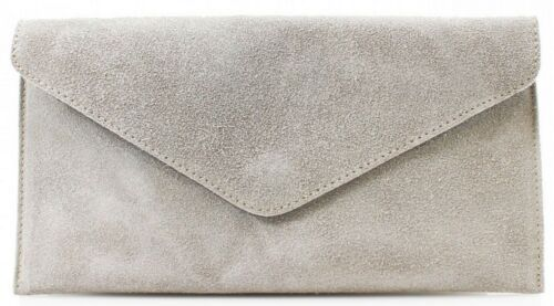 Womens Real Suede Leather Ladies Evening Party Prom Smart Envelope Clutch Bag