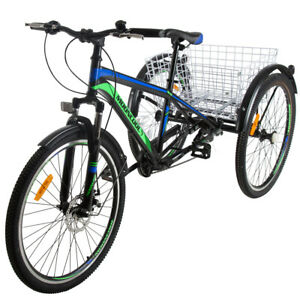 "7 Speed Adult 24/""//26/"" Mountain Tricycle 3 Wheel Bicycle w// Basket /& Disc Brakes"
