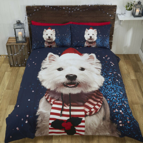 Westie Winter Christmas Duvet Set Single Double or King Size