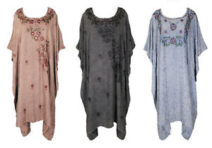 Embroidered-Kaftan-Cover-Up-Beach-Hippie-Dress-Boho-Size-18-20-22-24-26-28-30-32