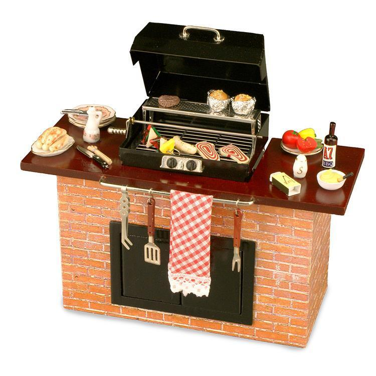 DOLLHOUSE Deluxe Barbecue Grill Station with Food BBQ 1.712 2 Reutter Miniature