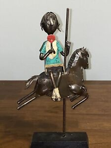 METAL ART SCULPTURE OF GIRL ON CAROUSEL SIGNED BY THE LATE MANUEL FELGUEREZ