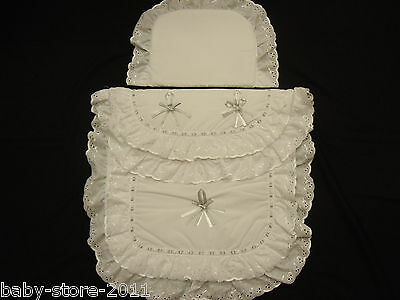 Bellissima Carrozzina Trapunta E Cuscini Set Bianco/argento Con Nome Embroided Su-
