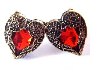 Details about RED HEART ANGEL WINGS STUD EARRINGS acrylic