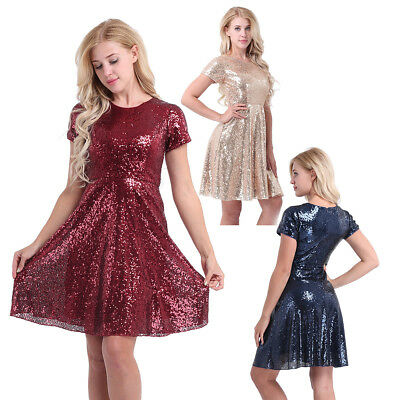 Womens Formal Sequin Cocktail Party Short Sleeves Bridesmaid A Line Skater Dress