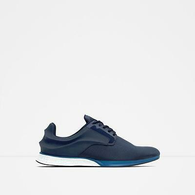 BNWT ZARA MAN BLUE SNEAKERS WITH DETAIL AT BACK US 7-12 EU 42-45  REF.2453/102