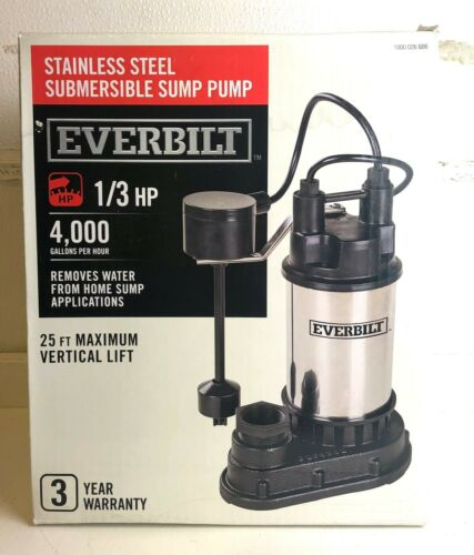 NEW Everbilt 1//3 HP Stainless Steel Submersible Sump Pump