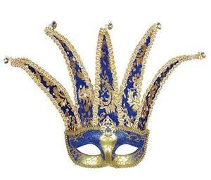Blue-amp-Gold-Court-Jester-Eye-Mask-Eyemask-Masquerade-Regal-Fancy-Dress