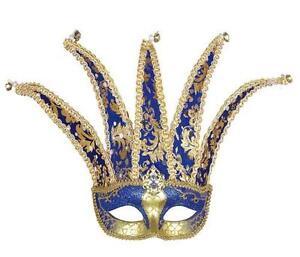Blue-Gold-Court-Jester-Eye-Mask-Eyemask-Masquerade-Regal-Fancy-Dress