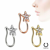 Clip On Star Nose Ring Clip Rhodium Plated With Clear Gems