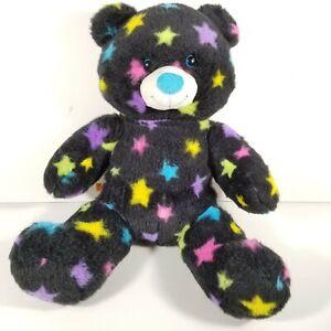 Build A Bear Black Neon Stars Vintage Rainbow Teddy Bear Plush UNSTUFFED