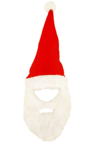 Red Santa Hat With Beard Felt Fancy Dress Costume Father Outfit Party