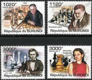 AgréAble Chess World Champions/grands Maitres/board Games Stamp Set (2011 Burundi)-afficher Le Titre D'origine Fabrication Habile