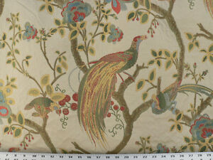 Image Is Loading Drapery Upholstery Fabric Birds And Berries Embroidered Jacquard
