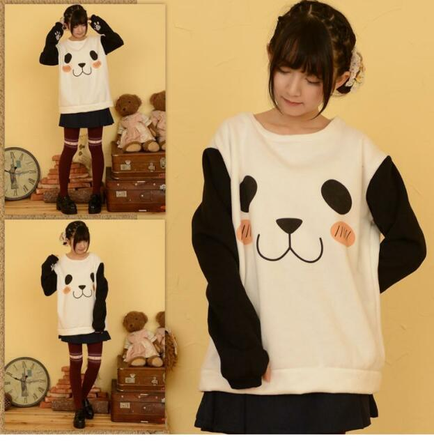 Cartoon Panda Sweaters Students Cool Hoodies Long Sleeves Shirt Cotton Winter
